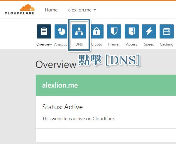 點擊 Cloudflare 的 [DNS]