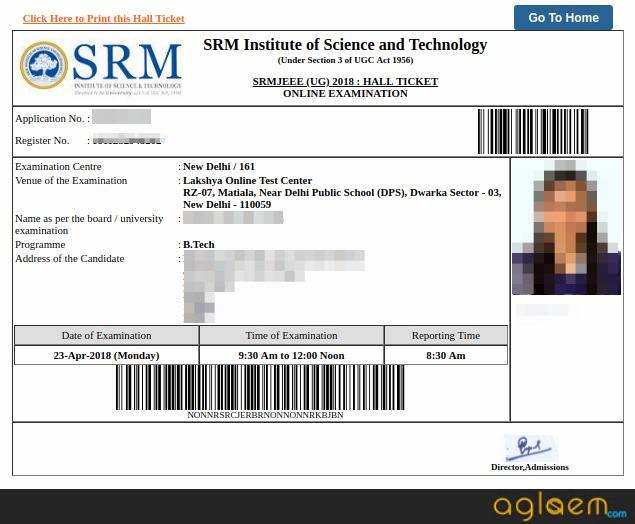 SRMJEEE 2019 Admit Card Sample