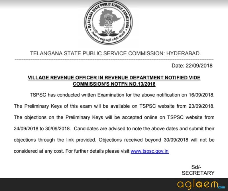 Official notice by TSPSC