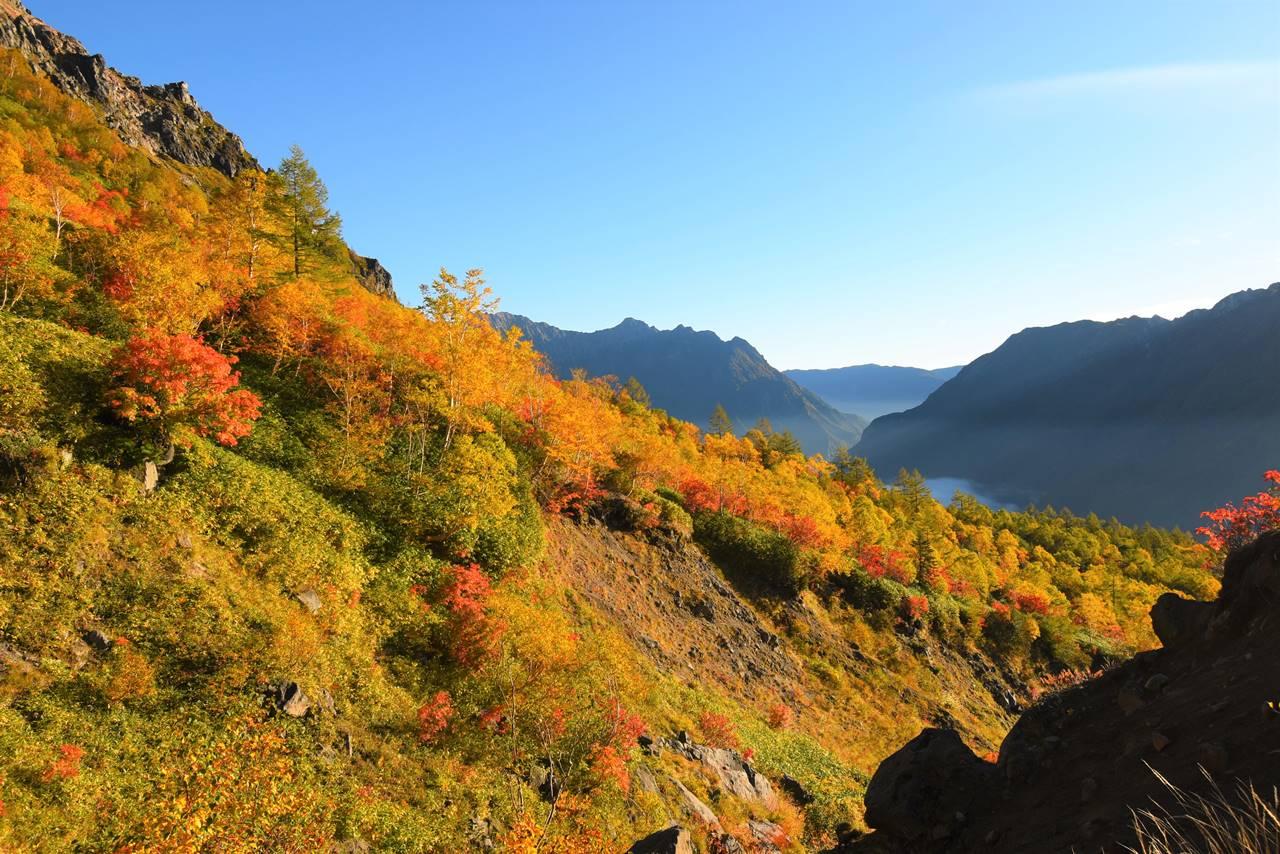 紅葉と穂高連峰