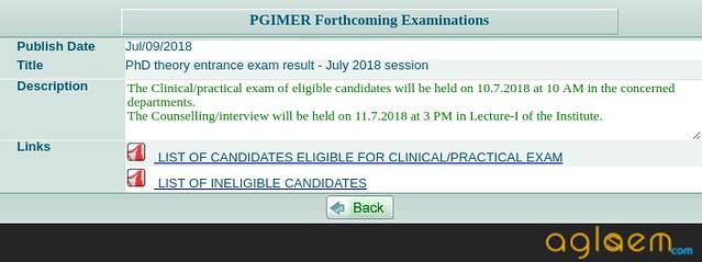 PGIMER 2019 Result (pgimer.edu.in)   Check Here Result for PGIMER January 2019 | PGIMER July 2019