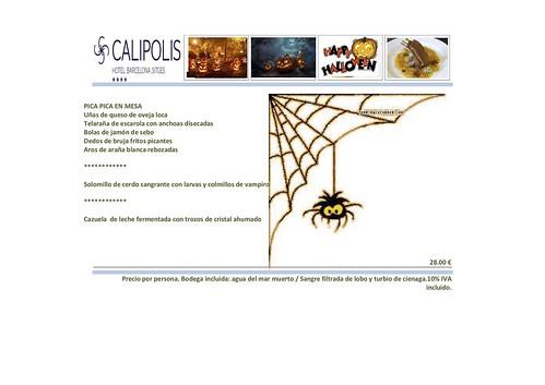 Menú Halloween Hotel Calipolis