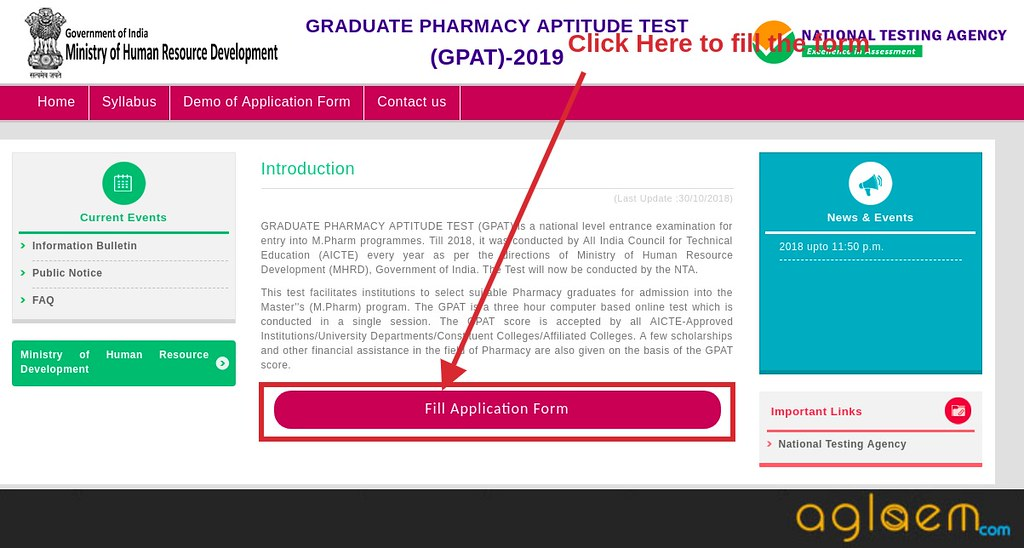 NTA Releases GPAT Application Form 2019