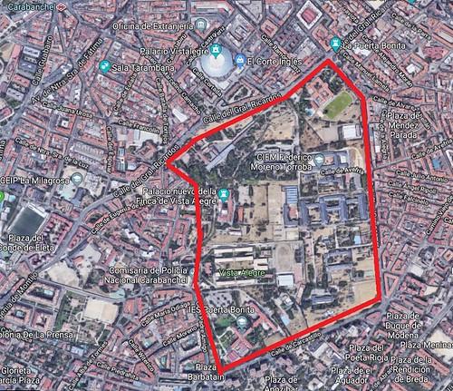 Mapa de la finca de Vista Alegre en Carabanchel (Madrid)