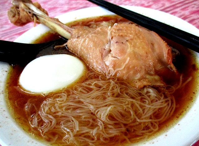 Traditional birthday mee sua in red wine chicken soup with egg