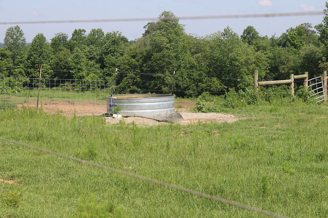 A water tank on the Anglins' farm