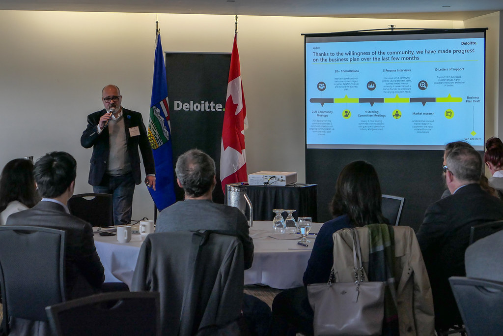 Dalibor Petrovic speaking at a community meeting on Sept. 24, 2018 to gather feedback on the AI business plan. (Photo: Mack Male)