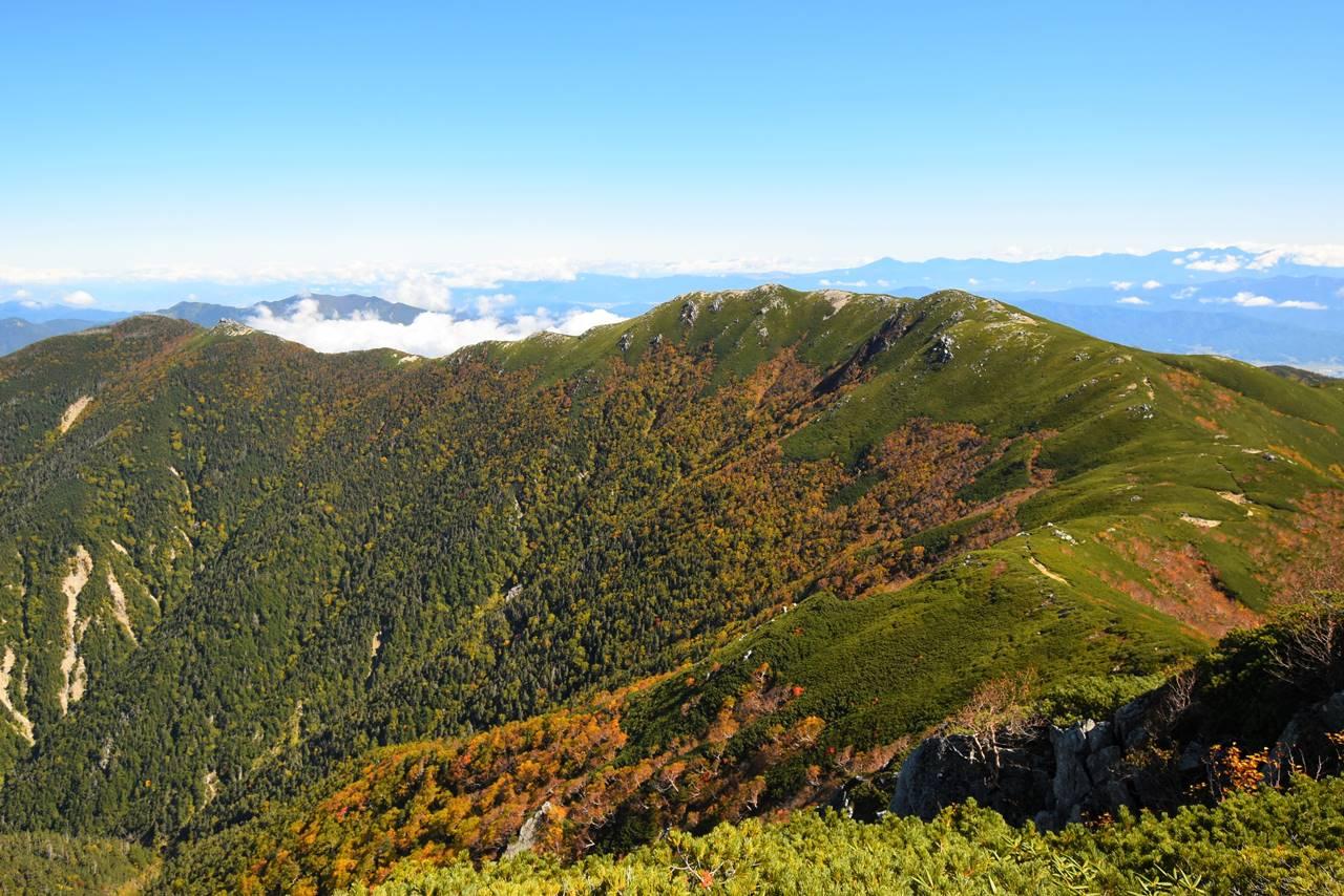 中央アルプス・将棋頭山の稜線