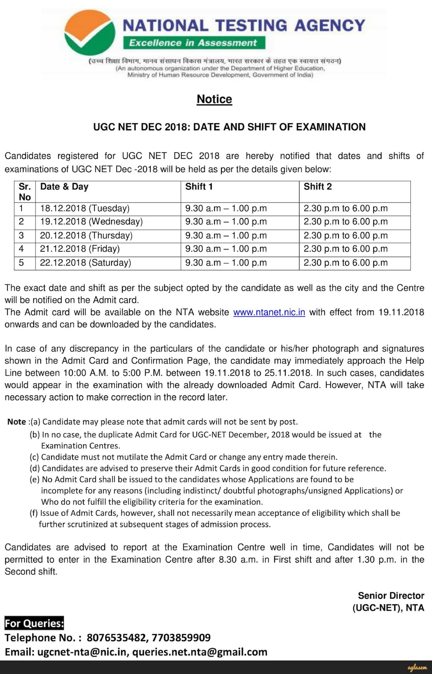 NTA announces UGC NET Dec 2018 exam date; Exam on 18, 19, 20, 21, 22 December