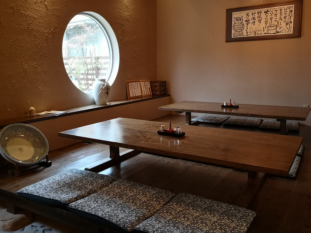 The Japanese seating arrangement at Tomisoba exudes old world charm.