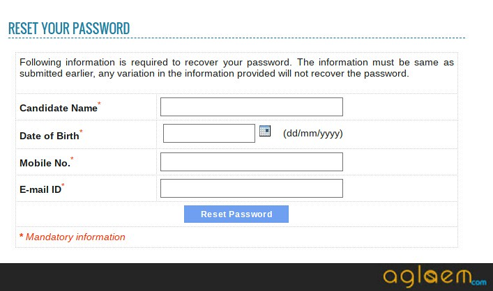 PUTHAT Reset Password for downloading Admit Card