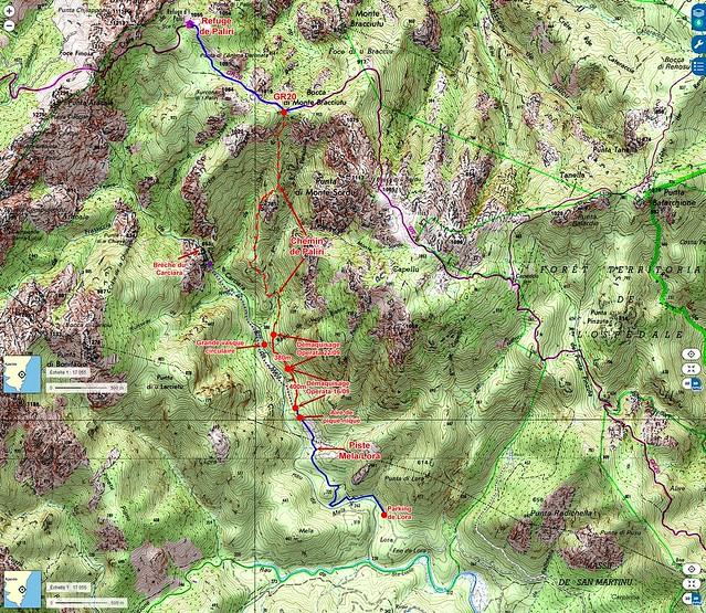 Carte IGN du Haut-Cavu avec les secteurs Lora - Carciara - Paliri et les travaux du Chemin de Paliri au 22/09/2018