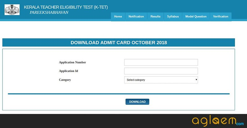 Login window for downloading the admit card