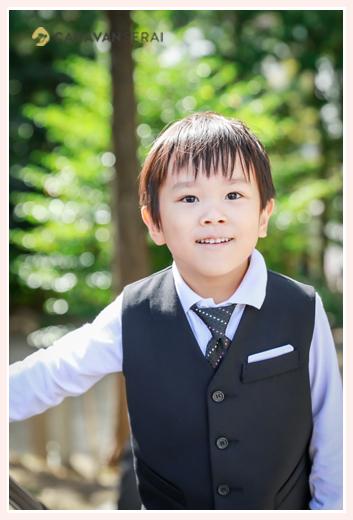 5歳の男の子の七五三ロケーションフォト