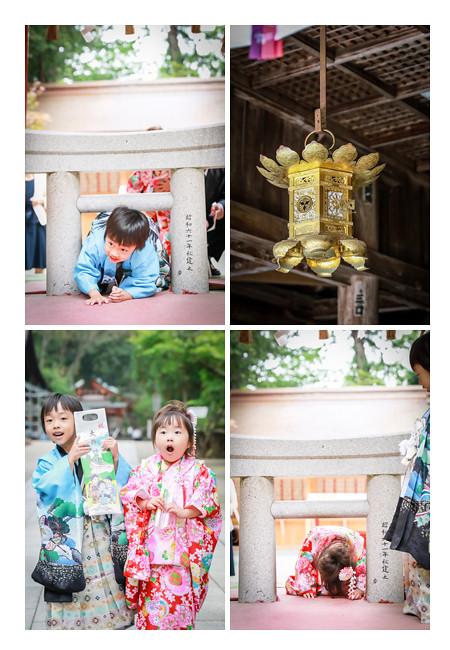 大縣神社(愛知県犬山市)で鳥居くぐり 七五三の子供