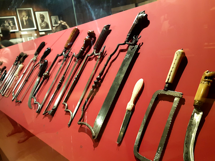 An array of medieval surgical equipment