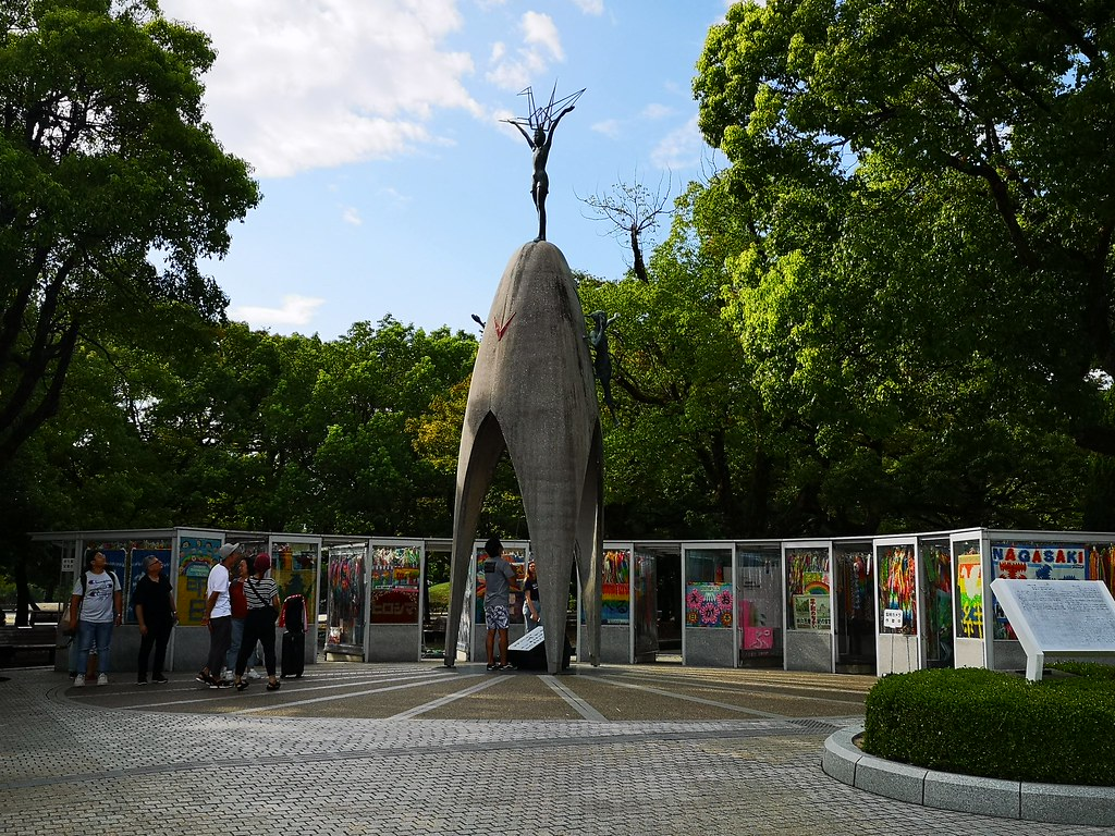This monument stands in memory of Sadako, a 12-year-old girl who died of acute malignant lymph gland leukemia, or