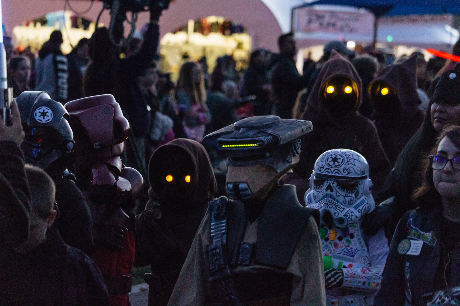 People dressed in Star Wars character costumes at the Albuquerque International Balloon Fiesta