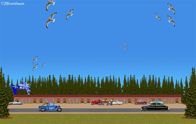 Outside the County Road 5 Blue Swallow Motel ©J. Boardman
