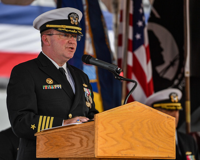 SAN DIEGO (October 12, 2018) Capt. Jeffrey R. Cronin, outgoing commodore, Mine Countermeasures Squadron 3, speaks during a change of command ceremony at Naval Base San Diego.