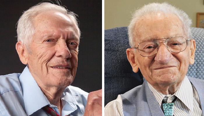 Portrait photos of two elderly men.