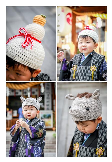 七五三 干支(いのしし)の帽子