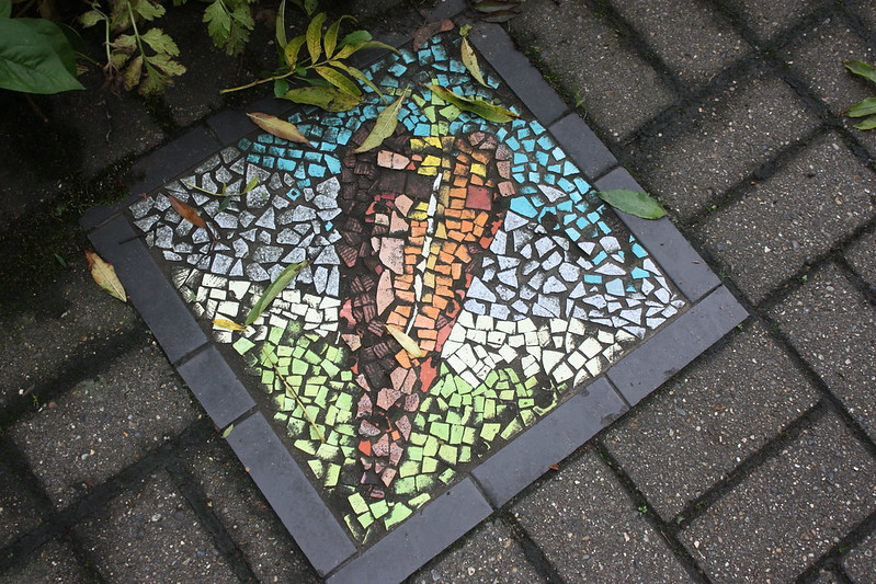 A carrot mosaic at Hulme Community Garden Centre, venue for the national permaculture convergence 2018