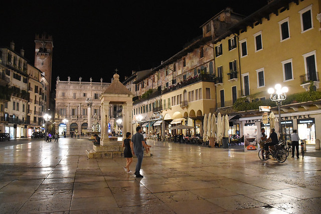 Piazza Erbe at night, Verona, Italy
