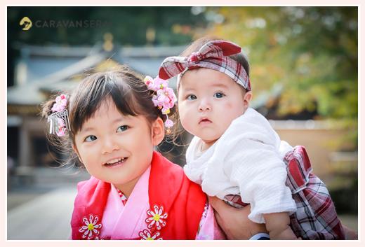 七五三 岐阜護国神社でロケーションフォト 3歳の女の子と妹