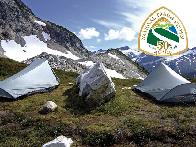 Tents on a Forest Service-managed stretch of Pacific Crest Trail