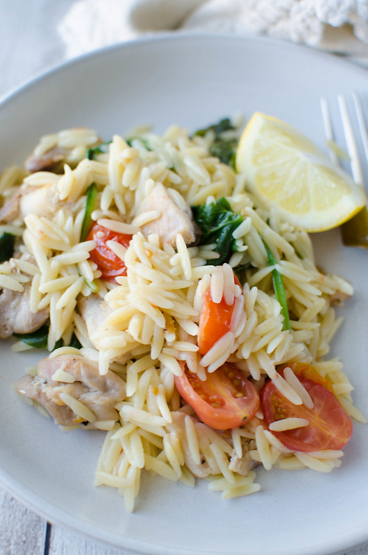One Pot Lemon Chicken with Orzo - light, healthy, and delicious! All cooked in one pot and ready in under 30 minutes!