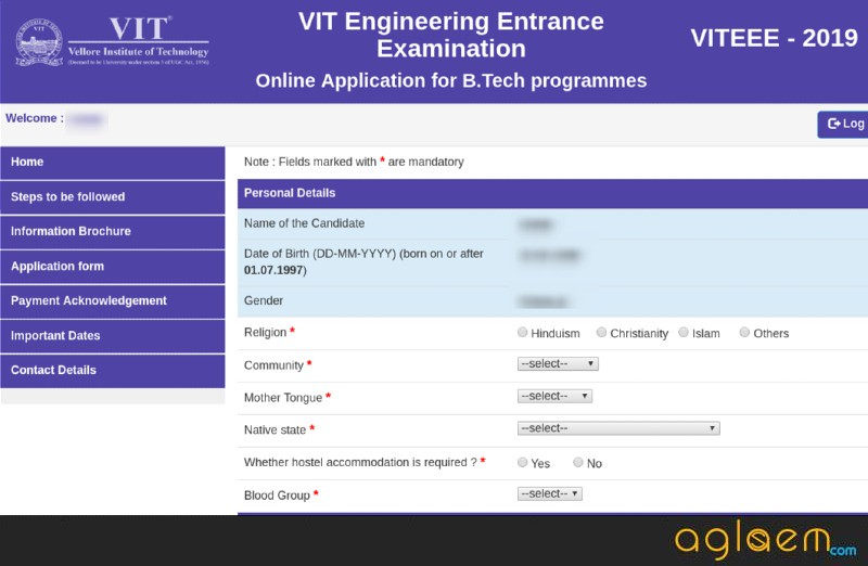 VITEEE 2019 Application Form (Closed): Re-Print Form