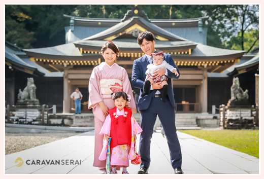 七五三 岐阜護国神社でロケーションフォト 家族写真
