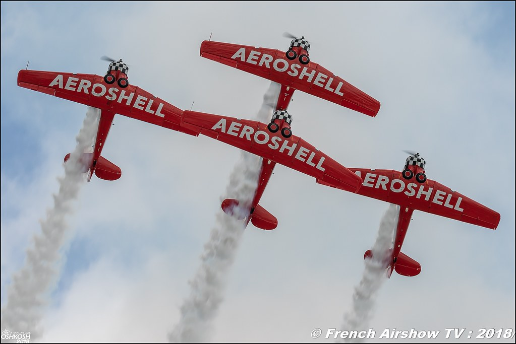 AeroShell Aerobatic Team AT-6 Texan EAA AirVenture Oshkosh 2018 Wisconsin Canon Sigma France contemporary lens Meeting Aerien 2018