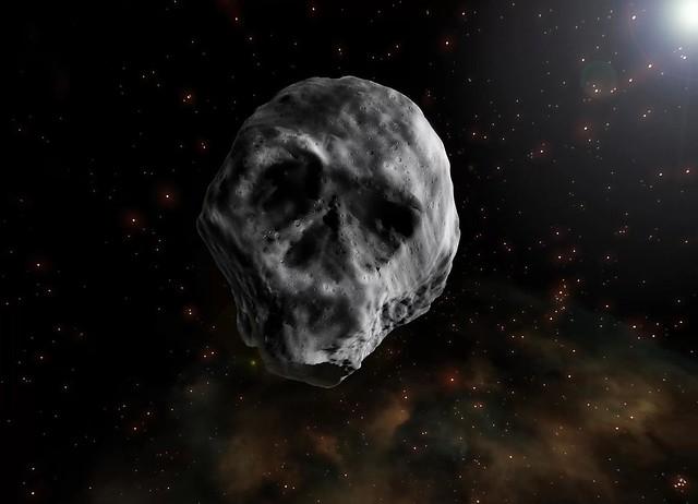 VCSE - Egy művész radarképek nyomán készített, a valóságot valószínűleg erősen kiszínező fantáziarajza a2015 TB145 kisbolygóról - Kép forrása: space.com