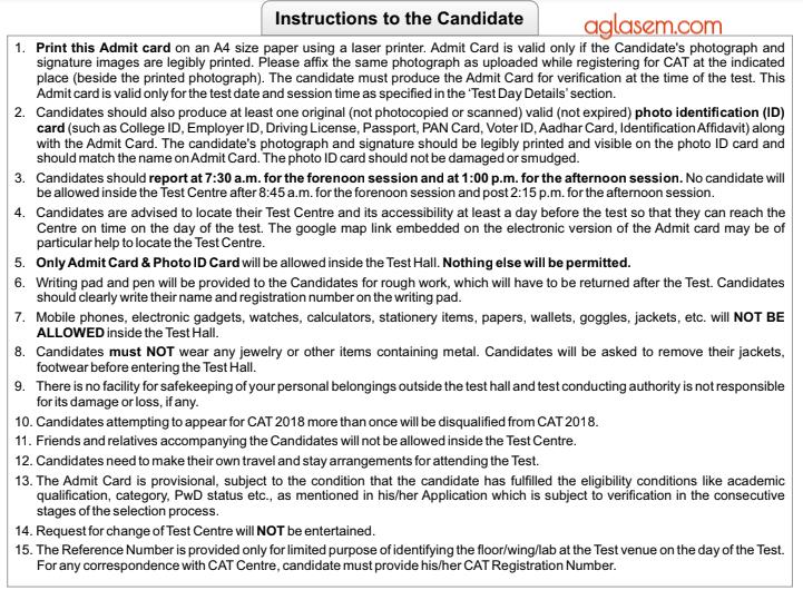 CAT 2018 Important Instructions