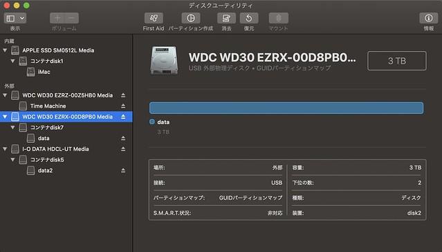 APFSに変換後のdata HDD