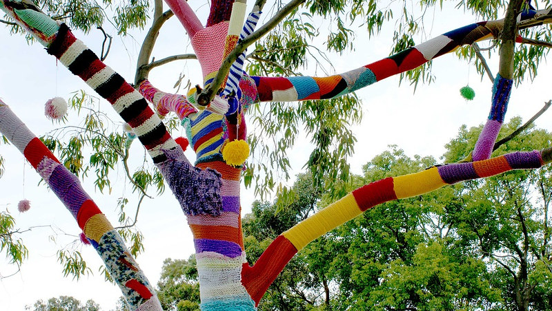 Trees decorated with knitting and crochet