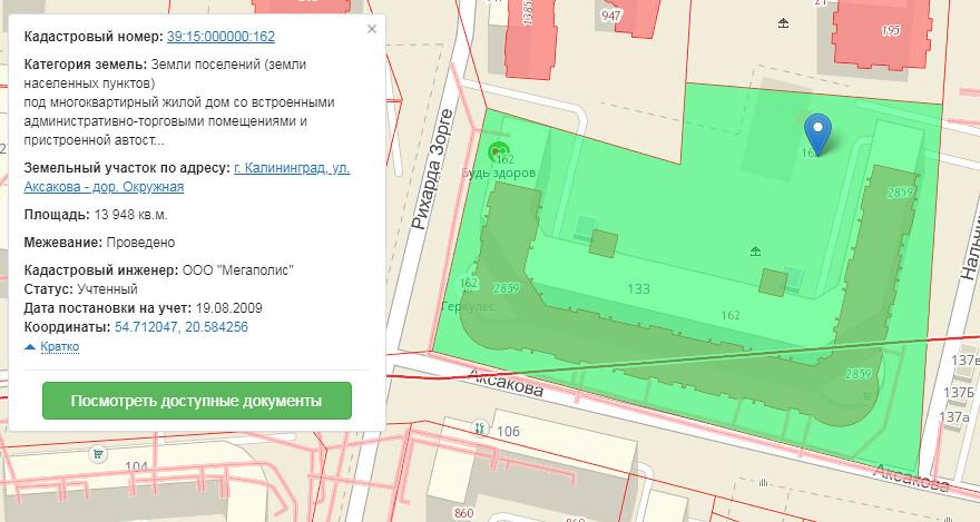 Кадастровая карта, фрагмент ЖК Восток