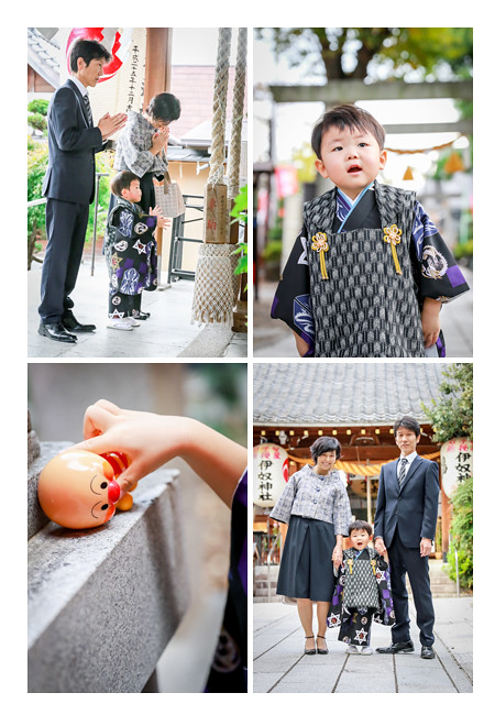 出張カメラマンが撮る伊奴神社で七五三(名古屋市西区)♪3歳の男の子の自然の姿を写真に