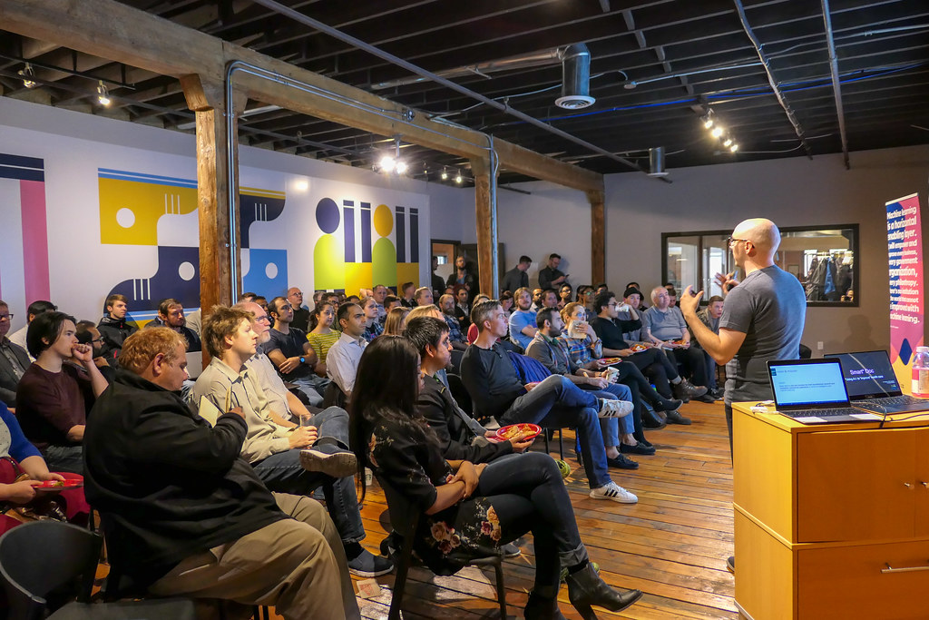 Amii began hosting AI meetups last year to bring the artificial intelligence community together. The first was held on Sept. 10, 2018 at Startup Edmonton. (Photo: Mack Male)