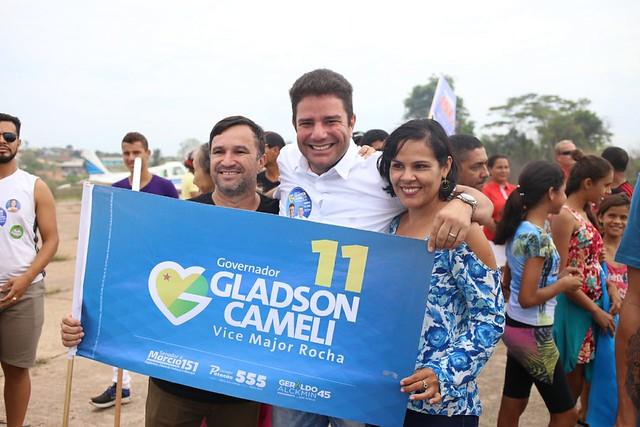 Gladson Cameli em Porto Walter. Gladson Cameli Major Rocha      Créditos: Cleiton Lopes