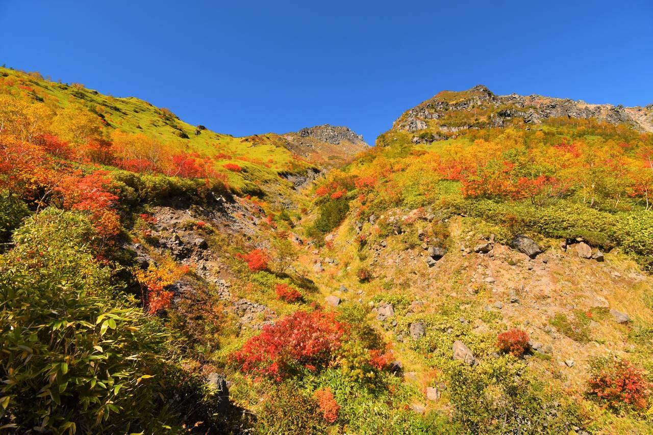 紅葉する秋の焼岳