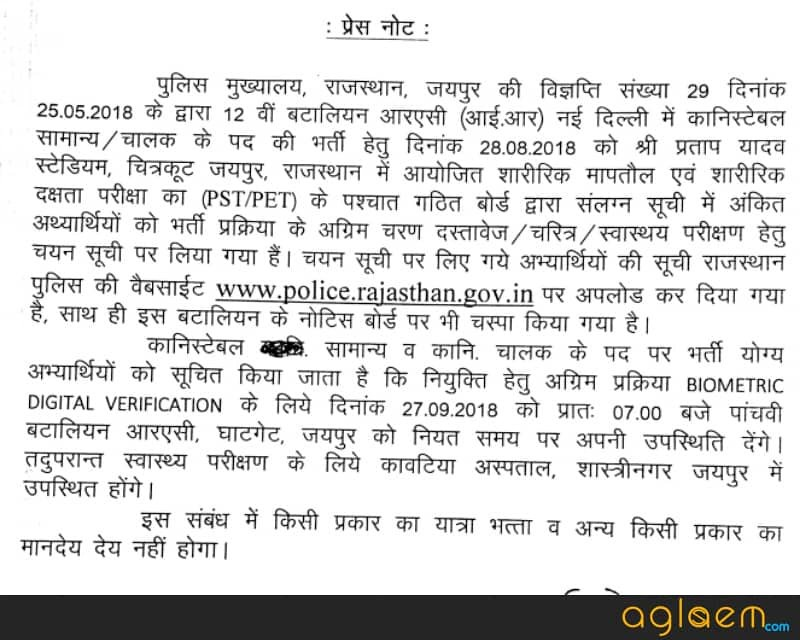 Rajasthan Police Constable Result 2018 - Post Wise Cut off Written Examination