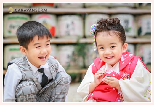 七五三 大縣神社 愛知県犬山市 3歳の女の子とお兄ちゃん