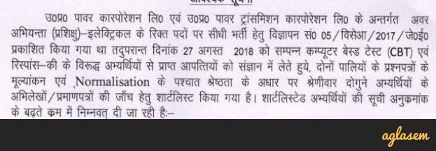 UPPCL JE Result 2018 announced at upenergy.in; Document verification on 28 and 29 October