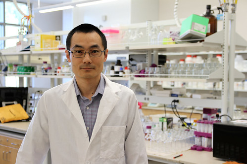 Yi Wang stands in a lab