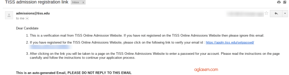TISSNET Confirmation Email