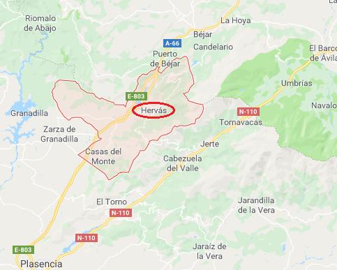 Mapa de Hervás (Cáceres)