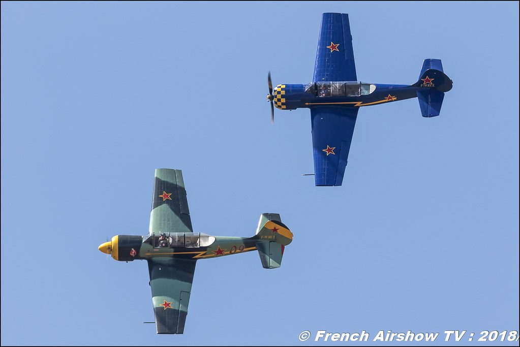 Yako Team Yak 52 F-WRUL Yak 52 F-WRUI Meeting de l Air BA-133 Nancy Ochey 2018 FOSA Armee de l Air Canon Sigma France contemporary lens Meeting Aerien 2018